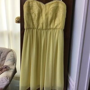 NWT Gorgeous Yellow Strapless BCBG Dress. Size 4